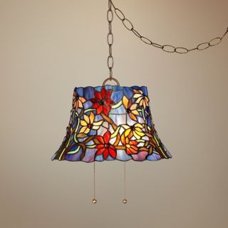 "Tiffany Style Blue Floral 14"" W Art Glass Swag Pendant Light   #W3258"