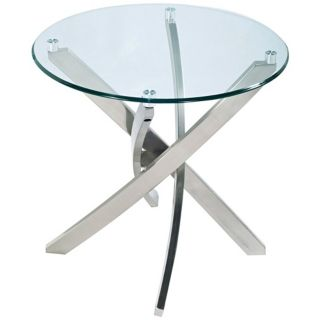 Zila Round Glass and Metal End Table   #Y4572