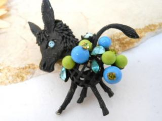 Vtg Hattie Carnegie Signed Black Donkey Animal Blue Bead Rhinestone