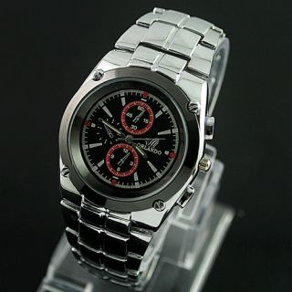Mens Mens Gentlemen Stainless Steel Quartz Wrist Watch KAM
