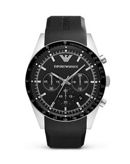 Emporio Armani Black Rubber Strap Watch, 46mm