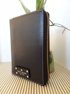 Kate Spade 2013 Wellesley Zip Around Black Leather Planner Organizer $