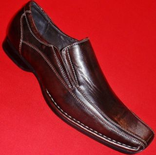New Mens Apt 9 Succeed Brown Loafers Slip on Formal Casual Dress