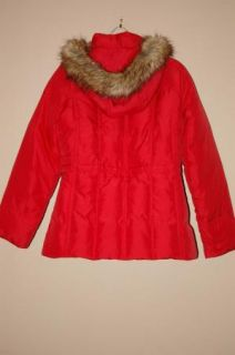 Womens Marvin Richards Red Duck Down Feather Fur Trim Hood Coat Jacket