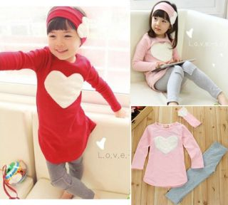 Pcs Set Kids Girls Heart Long Sleeve Top Shirt Headband Leggings 2