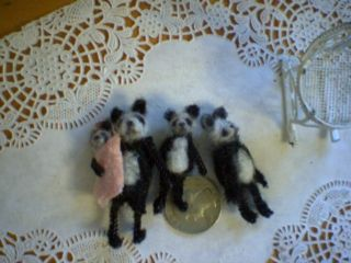 Doll House Panda Bear Miniature Family Artist Teddy Bear OOAK Vintage