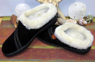 NIB Clarks Kimberly Womens Slippers Clogs Shoe Black Suede Indoor