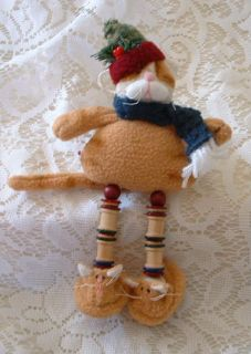 Folk Art Ginger Orange TABBY CAT Kitten w/ CAT SLIPPERS & Red Hat