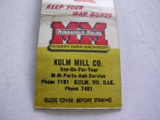 Kulm Mill Co Minneapolis Moline WWII Buy War Bonds Kulm North Dakota