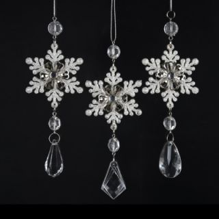 Kurt Adler Snowflake Drop Ornament Set of 3