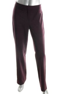 Lafayette 148 New Barrow Purple Wool Flat Front Dress Pants Trousers 0