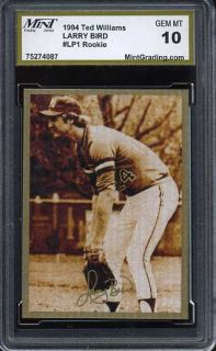 Larry Bird 1994 Ted Williams MGS 10 Baseball Rookie Gem