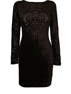 Oasis Velvet burnout dress Black