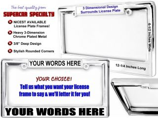 Custom License Plate Frame Chevy GM Ford Mopar All Cars