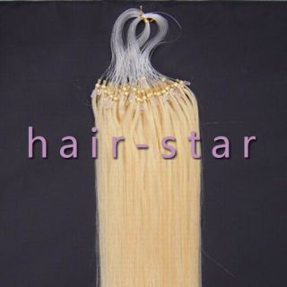 100S Loop Micro Rings Remy Human Hair Extensions 50g #613 Light Blonde