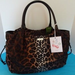 New Kate Spade Leopard Lindenwood Nylon Stevie Baby Diaper Bag Tote $