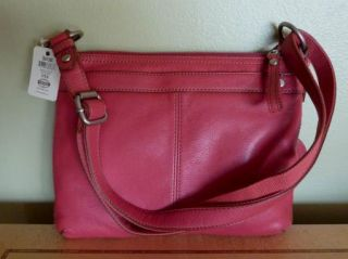 FOSSIL Maddox Red Rose Top Zip Leather Crossbody Handbag & Explorer