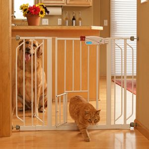 Extra Wide Metal Pet Gate w Pet Door and Extensions