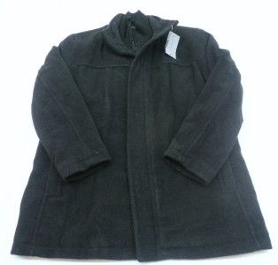 Marc New York Mens Black Wool Blend Button and Zip Coat Size Large