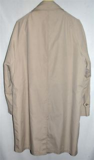 London Fog Mens Beige Cotton Blend Raincoat Zip Out Faux Fur Liner Sz