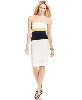 BCBGMAXAZRIA Dress, Strapless Colorblocked Sheath   Womens Dresses