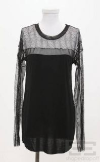 BCBG Max Azria Black Lace Jersey Long Sleeve Top