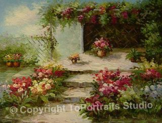 Mediterranean Garden Original Canvas Art Oil Painting