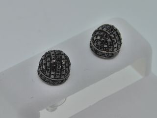 45c Mens Black Gold Finish Black Diamond Stud Earrings