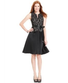 Jessica Howard Petite Dress, Sleeveless Belted Metallic Lace A Line