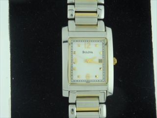 New Bulova Mens Two Tone Dress Watch 98G85
