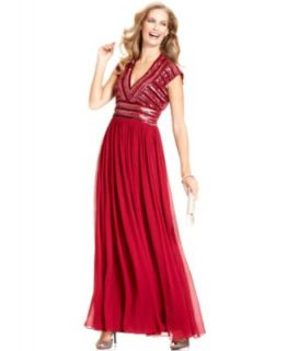 JS Collections Dress, Cap Sleeve Beaded Bodice Gown