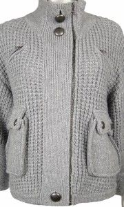 Duffy Womens Gray Wool Cashmere Zipper 3 4 Sleeves Sweater Knit