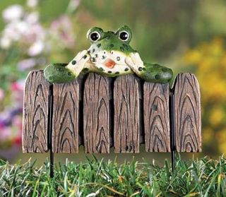 Frog on Fence Garden Stake Flower Bed Yard Outdoor Decor