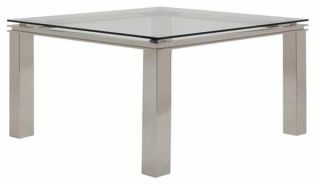 Deco Square Steel Glass Dining Table Comtemporary