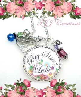 Little Middle Big Sister Personalized Name Heart Charm Necklace