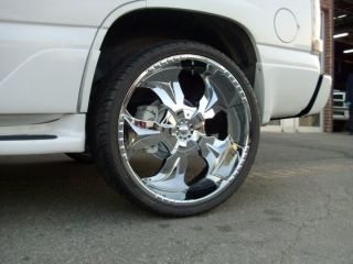 20 Chrome Wheels Rims Tires Package Starr 770 FWD 5x120