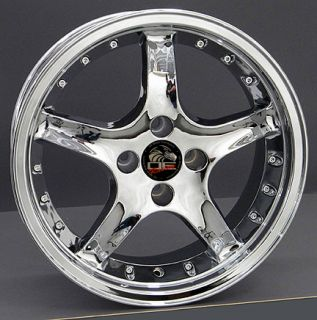 17 Cobra 4 Lug Wheels Chrome Set of 4 17x8 Rims Fit Mustang® GT 79