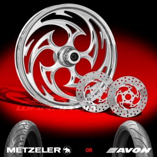 Savage Chrome 21 Front Wheel, Tire & Dual Rotors for 2000 13 Harley