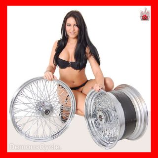 21 18x8 5 Chrome Rims Wheels 80 Spokes 250 Wide Tire Set Fits Custom