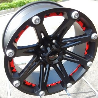 BLACK & RED BALLISTIC JESTER WHEELS RIMS TOYOTA TUNDRA SEQUOIA 5X150