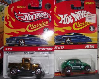 Hot Wheels Classics Series CHASE 29 Ford Pickup (gold) Green VW bug