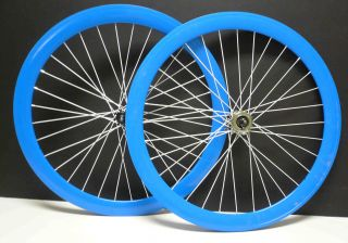 700c Deep 50CM FIXED Gear Front Rear Bike Wheels Set rims Blue