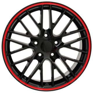 18 Corvette C6 ZR1 Black Red Lip Wheels Set of 4 Rims Fit Chevrolet