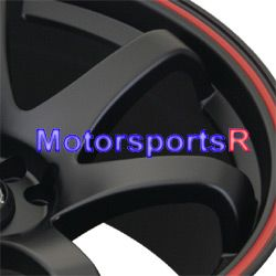 XXR 522 Flat Black Red Stripe Rims Wheels Concave Stance 4x100 +25 ET