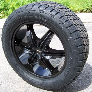 20 BLACK HELO 866 WHEELS & NITTO TERRA GRAPPLER CHEVY SILVERADO TAHOE