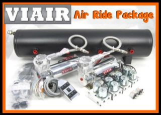 VIAIR AIR RIDE KIT Dual 444C Compressor 1/2 Valves Black 7 Switch Box