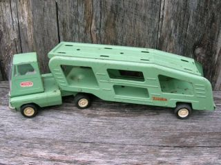 Vintage Old Tonka Toys Car Hauler Truck and Trailer with Ramps