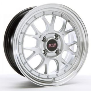 15 inch STR502S Silve Mach Rims and Tires 4x100 Accord Civic Fit