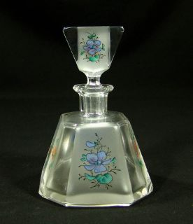 Art Deco Bohemian Crystal Glass Perfume Bottle Flowers