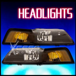 1999 2004 Ford Mustang Crystal Black Headlight w Amber